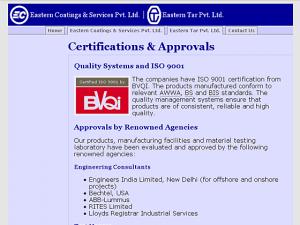 Eastern Tar / Coatings - Certifications page